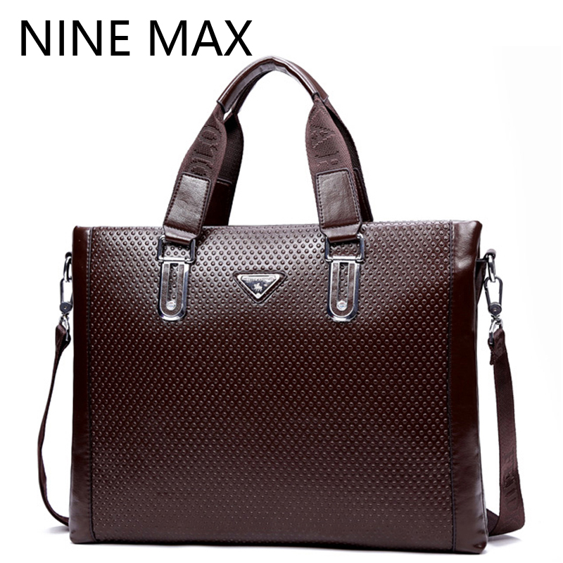 Fashion Split Leather Men Business Handbags Ostrich Grain Single Shoulder Message Bag For Male Casual Vintage Laptop Briefcases(China (Mainland))