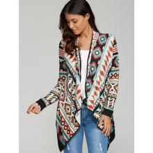 2017 Asymmetrical Kimono Cardigan Blouses Women Geometric Printed Long Sleeve Cotton Coat Fashion Knitted Poncho Tops Casual