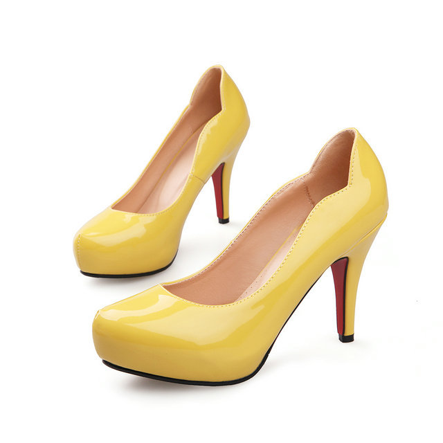 freeshipping Fashion special design round toe pumps leisure ladies patent leather shoes black yellow beige shoes size 34-40<br><br>Aliexpress