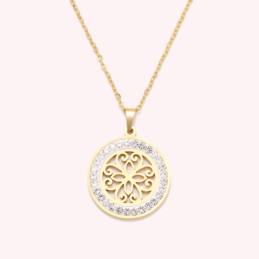Cacana Stainless Steel Crystal Round Pendants Necklace Women Jewelry Hollow Trendy Necklaces Donot Fade Valentine's Day Gift (5)