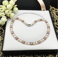 2017 New 924+++Natural deep-sea mother of shell pearl Necklace round(China)