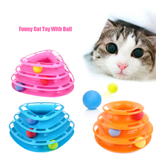 Rose Red Three Levels Tower Tracks Disc Cat Toy Amusement Shelf Play Station For Cat Funny Pet Toys(China)