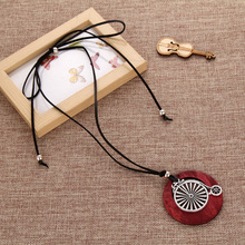 men Long Necklace vintage woman Necklaces jewelry statement alloy bike pendants wooden pendant collares mujer choker necklace