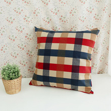 European Plaid red blue Cushion Cover Pure cotton Seat throw Pillow Cover Decorative Home Sofa Car Cushion covers Chair cojines