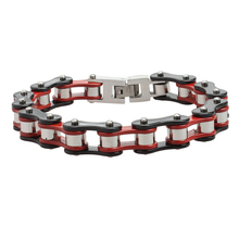 Hip Hop Jewelry Motorcycle Bike Chains Bracelets For Men Fashion Jewelry Red Plated Stainless Steel Bracelet Factory Prices