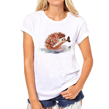New 2017 Fashion Hedgehog Kiss Butterfly T Shirt Women Summer Novelty Paint Printed Tops Hispter Round Neck T-shirts(China)