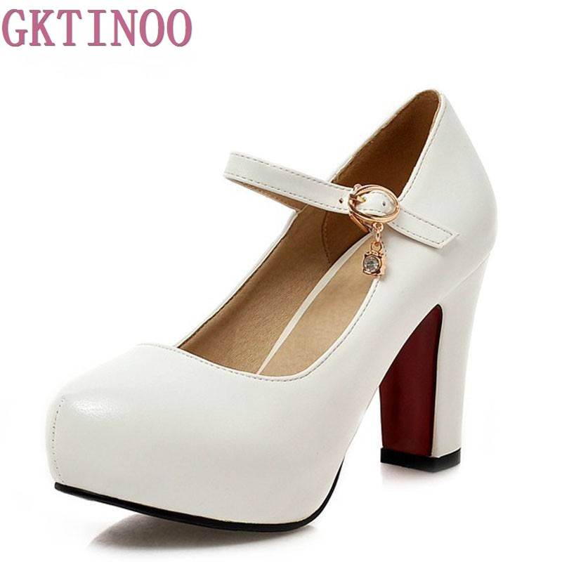New Womens High Heels Pumps Sexy Bride Party Thick Heel Round Toe White High Heel Shoes for office lady Women<br>