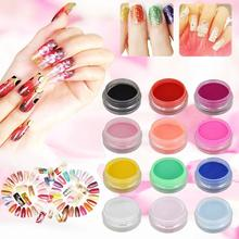12 Mix Colours Acrylic Nail Art Tips UV Gel Powder Dust 3D DIY Decoration Set acrylic set nail art acrylic