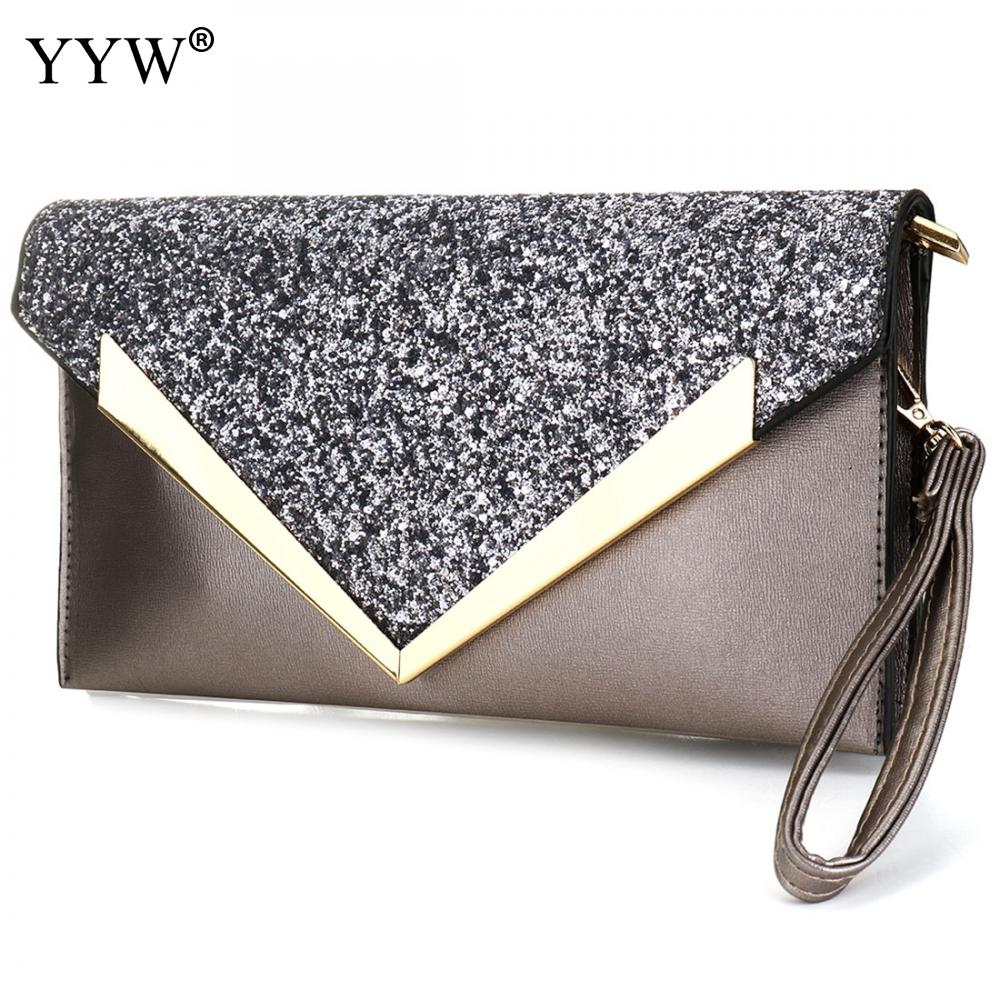Evening Bag For Women 2018 Fashion Clutches Grey Crossbody Bag With Sequin  Softbag Pink Leather Ladies fb4f5eb3d5d1