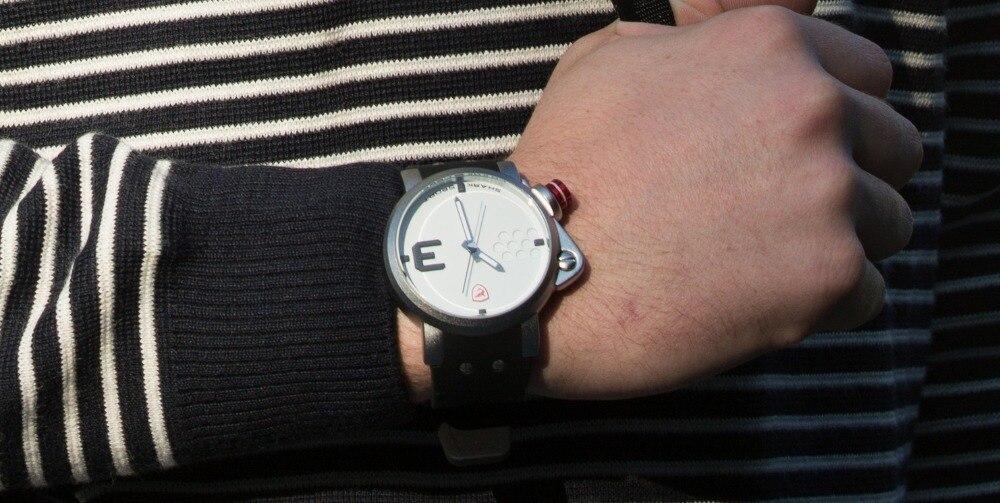 ปลาแซลมอนฉลามกีฬานาฬิกาดีไซน์เนอร์บิ๊กด้านซ้ายปุ่มกรณีควอตซ์นาฬิกาผู้ชายชายซิลิคอนวงReló... 12