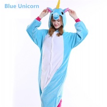 Winter Cute Cartoon Animal Pegasus Unicorn Pajamas Flannel Hooded Long Sleeve Adult Sleepwear For Women Unicornio Licorne Femmes(China)