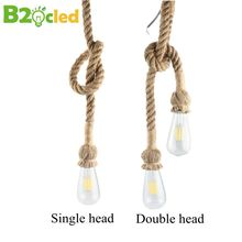 1-6m Retro Single/double head Rope Pendant Light Lamp Creative Personality Industrial Edison Bulb Occident Style For Livingroom