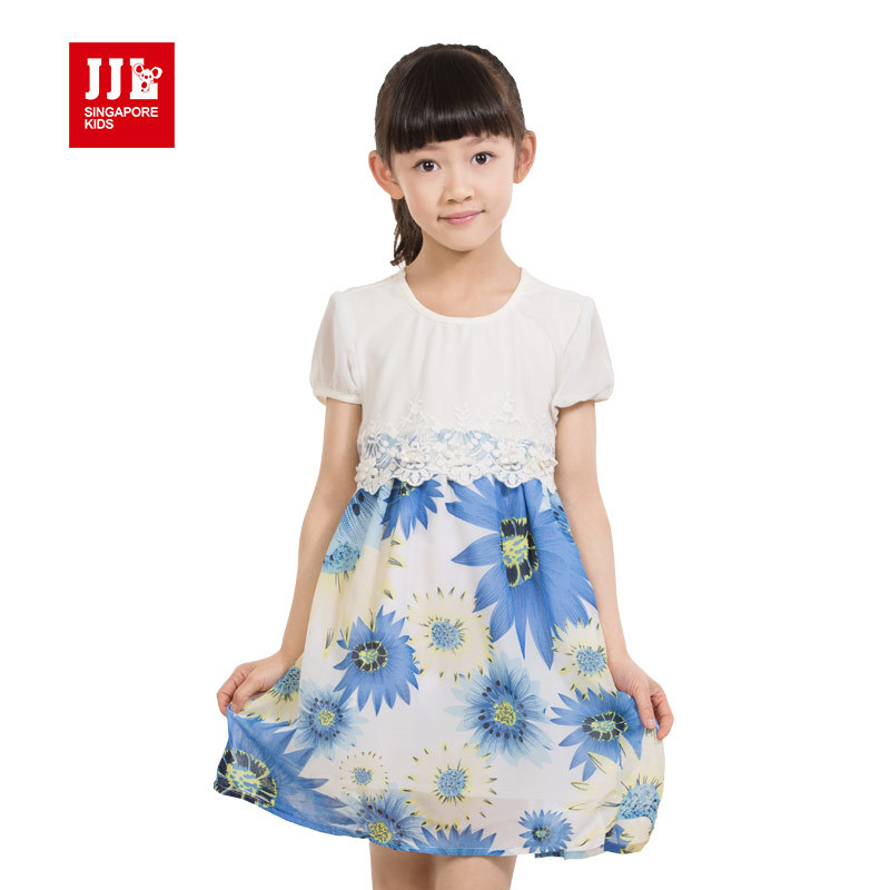 dress for girls floral short sleeves bohemian styles clothing with lace design summer beach sweet girls dress size 4-11 years<br><br>Aliexpress