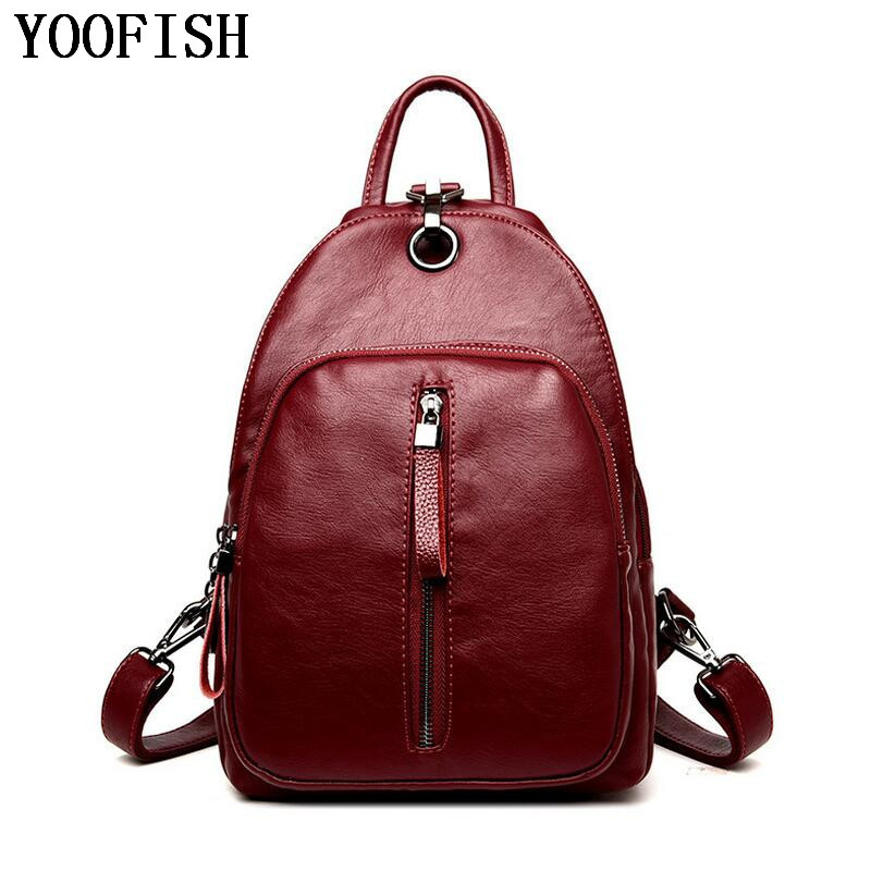 YOOFISH  New 2017 Fashion Women Backpack Women or men Travel Backpack  Women Fashion  leather  Backpack School Bags  LJ-948<br>