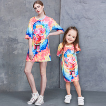 Fashion Designer Family Look Mother Daughter Matching Dresses Cartoon Elephant Print Girls Dresses 2017 Sweet Princess Dress