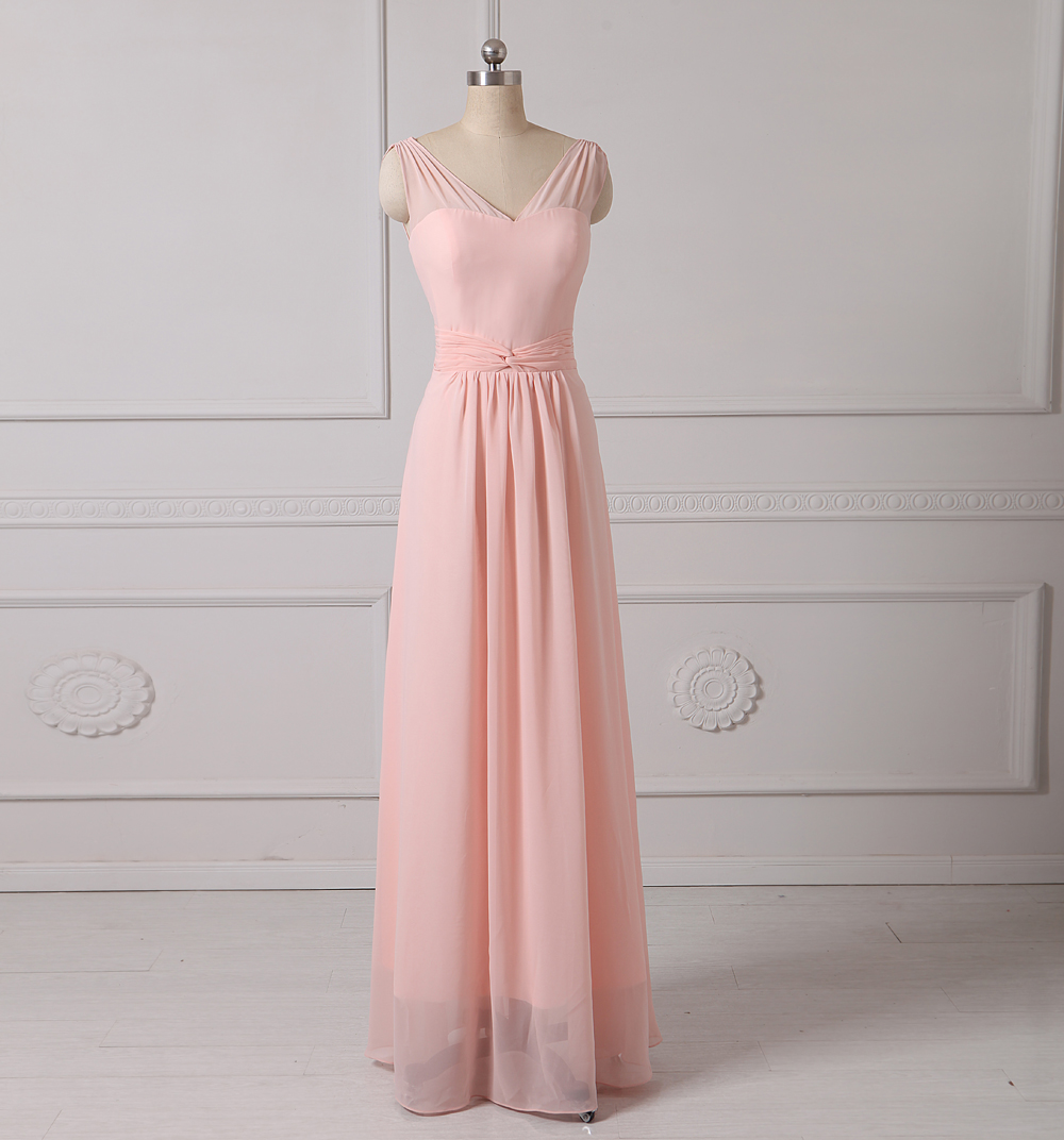 Compare prices on light pink junior bridesmaid dresses online 2017 v neck long a section sleeveless chiffon long light pink bridesmaid dress custom ombrellifo Gallery