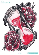 21X15cm Body Art Red Rose Hourglass Large Tatoo Sticker New Designer Cool Temporary Fake Flash Tattoo Stickers Taty car styling