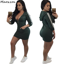 Maoxzon Womens Sexy Club Slim Athleisure Hooded Dresses For Female Fashion Long Sleeve Zipper Pocket Active Sheath Bodycon Dress(China)
