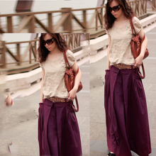2016 Spring Autumn women's fashion long skirt solid color cotton linen skirt with pockets casual maxi skirt 3 colors(China)