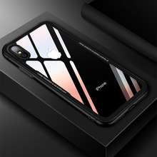 Case for iPhone X 10 Tempered glass Transparent Clear Cover Bumper On The for Apple iPhone 6 s 7 8 Plus X Soft TPU Silicone Case(China)