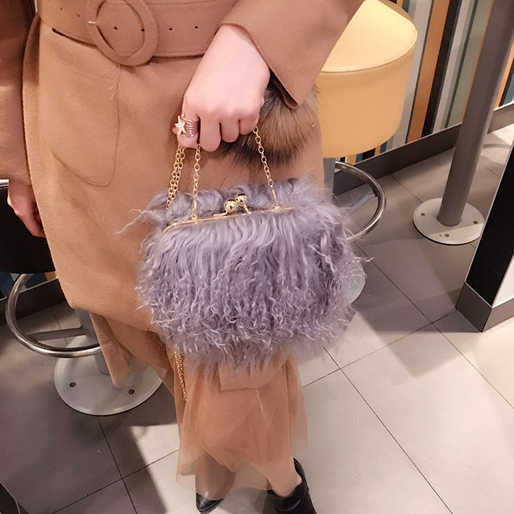 Winter fashion 2017 berber fleece velvet beach wool womens faux fur handbag mini shoulder bag chain messenger bag clip closure <br>