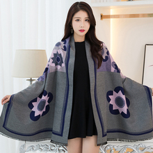 2017 Luxury Brand Scarf Winter Stoles Floral Women's Scarves Shawls And Wraps Winter Scarf Lencos e Cachecol Feminino Bandana(China)