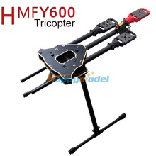 HMF Y600 Tricopter 3 Axis Copter FPV Frame w/ High Landing Gear & Gimbal Hanging Rod PCB Center Board, Carbon Fiber Tube RC Y3