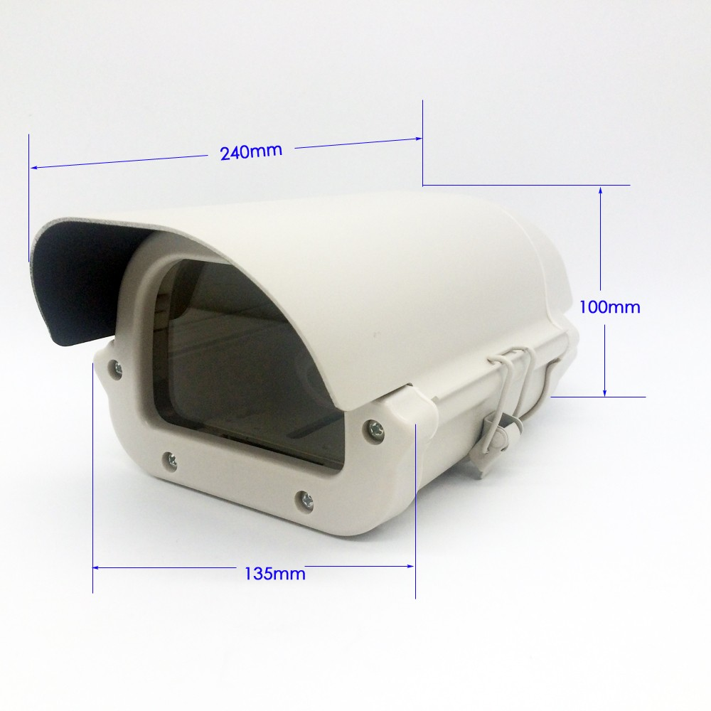Security CCTV Camera Housing Outdoor Camera Box Clear Glass Without Lens Cutout LED Light Aluminum Alloy Cover Size240*135*100mm<br>