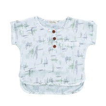 Baby Girls Boys Casual Clothes Loose Breathable Line Printed Button Down T-Shirt