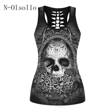 2017 3D Skull Printed Black Short Tops Sleeveless Hollow Out O neck Casual Tank Vest Female Bodybuilding Fitness Sporting Shirts(China)
