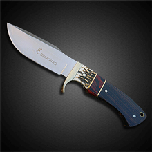 PEGASI Exquisite Design Browning Camping Fixed Blade Knife 7Cr17 Steel Ebony Wooden Handle Collection Knives Gift