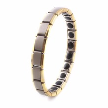 2017 Fatpig Germanium Tourmaline Bracelet for Men Stainless Steel Magnetic Stone Male Health Bracelets Jewelry Women Wristband(China)