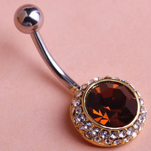 Orange Rhinestone Navel Belly Button Rings Beach Party Queen Umbigo Piercings Starry Crystal Body Piercing Bijoux Pour femme