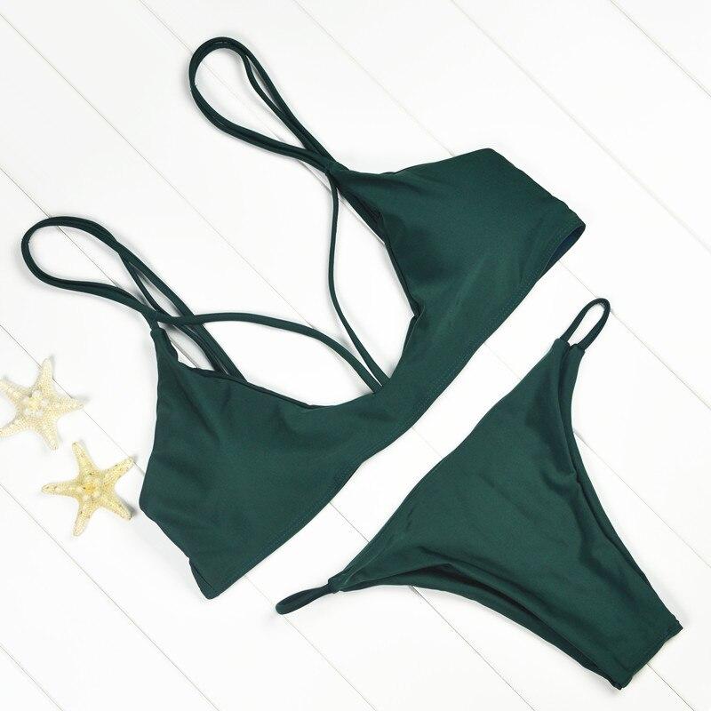 Hot New Design 2016 Slim Bikini Set Women Push up Green Swimwear Brazilian Bandage Swimsuit Bathing Suit Beachwear Biquini<br><br>Aliexpress