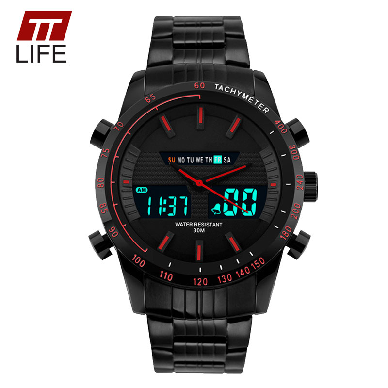 TTLIFE Mens Sport Watch Luxury Full Steel LED Display 30m Water Resistant Analog Digital Military Alarm Wristwatch for Men 2016<br><br>Aliexpress