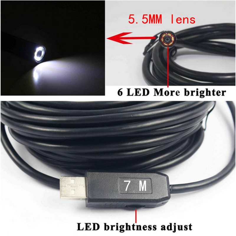 5.5mm Dia USB Endoscope Cmos 7m Long Cable Waterproof 6-led Borescope Endoscope Inspection  Tube Visual Camera metal Pipe Video<br><br>Aliexpress