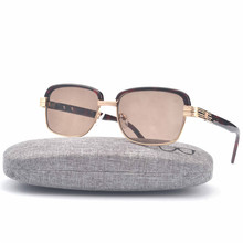 MINCL/ Free shipping 2017 New 100% Natural Crystal Stone Sunglasses Men/Women Fashion High Quality Design Sun Glasses Female FML(China)