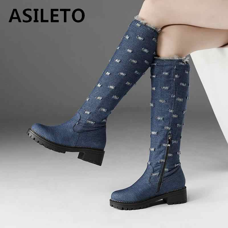 24b615f7e8206 Detail Feedback Questions about ASILETO Plus Size 44 Jeans denim Boots women  knee high boots shoes Woman Warm winter long Boots Female Shoes cowboy boot  ...