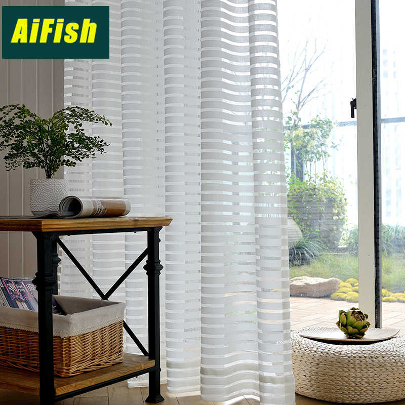 Modern Style Striped Semi Sheer Curtains Solid White Curtain for Bedroom Living room Window Curtain Tulle Drapery WP135&3