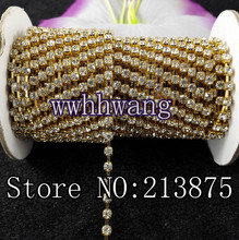 1yard,SS6/12/16/20 (2mm-4.6mm),Clear Glass Crystal Rhinestone Golden base chain rhinestone chain for phone, cup, mouse,clothes