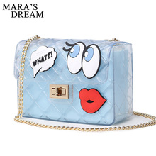 Mara's Dream 2017 Women Cute Jelly Bag Brands Bag Candy Transparent Messenger Beach Bags Girls Clear Graffiti Red Lips Crossbody