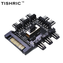 TISHRIC 2017 Hot Sale 1 to 8 PC Cooler Cooling Fan Hub Splitter Cable PWM SATA Molex 12V 3Pin Power Supply Adapter For Computer(China)