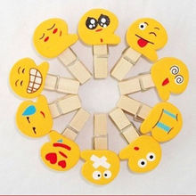 10Pcs Mini Cute Mini Emoticon Wooden Pegs Clips Kawaii Funny Photo Clips Note Memo Holder Card Craft Wedding Room Decor
