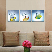 Sales Happy Fish 3 Panels Modern Animal Picture Photo Paintings On Canvas Wall Art For Bedroom Kitchen Home Decorations(China)