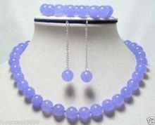 Hot sale new Style >>>>>Fashion 10mm Lavender stone round beads Necklace Bracelet Earrings Set AAA Grade(China)