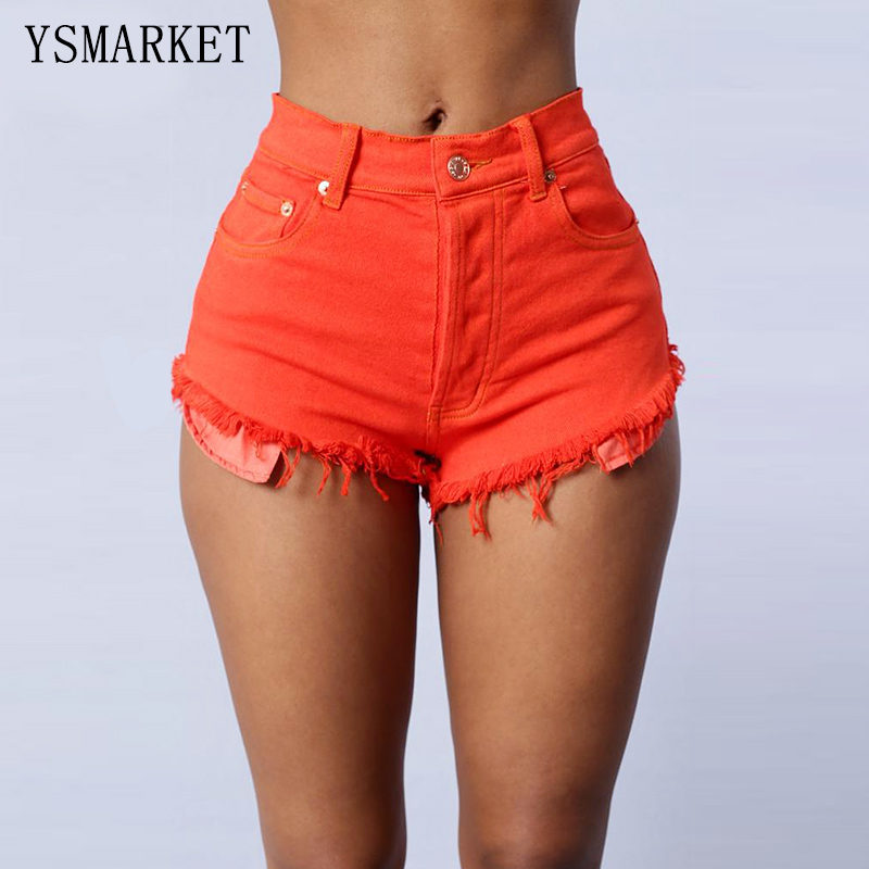 Tassel Sugar Color Hot Fashion Casual High Waist Shorts Jeans Solid Denim Pants Woman Short Elastic Jean Trousers Orange E0883Одежда и ак�е��уары<br><br><br>Aliexpress