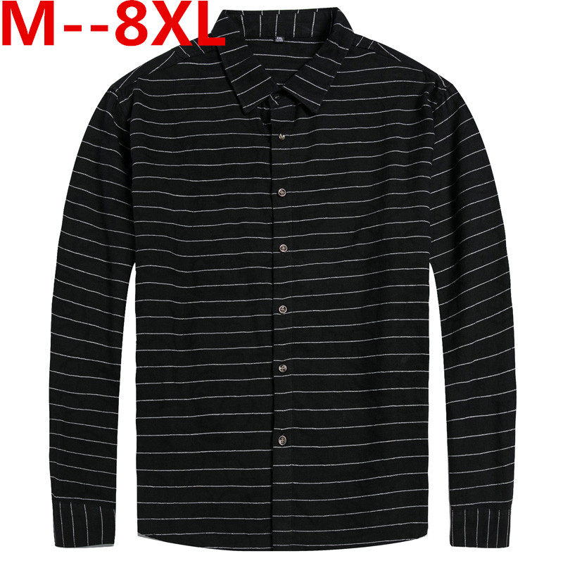 Plus Large Size 10XL 8XL 6XL 5XL 4XL Mens Business Casual Long Sleeved Shirt Classic Striped Male Social Dress Shirts