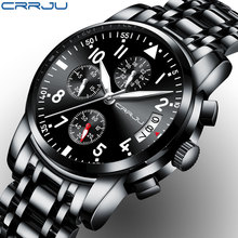 CRRJU Sport Watch Men Quartz Military Casual Watches Men's Chronograph Wristwatch Army Waterproof Clock Men Full Steel Hour(China)