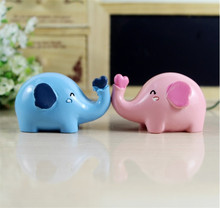 1Pair Lovely Cartoon Elephant Doll Resin Miniatures Craft For Wedding Lover Souvenir Gift Kids Art Toy Figuirine Novelty Craft