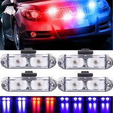1Set 4 IN 1 led flashing Mini Emergency Vehicle LED Warning Lights 12V Waterproof Red and blue led light police strobe light(China)